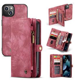 Caseme iPhone 13 - Caseme - vintage 2 in 1 portemonnee hoes - Rood