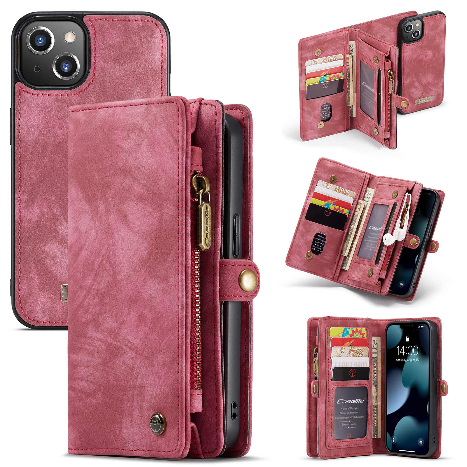 Caseme vintage 2 in 1 portemonnee hoes - iPhone 13 - Rood