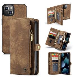 Caseme iPhone 13 - Caseme - vintage 2 in 1 portemonnee hoes - Bruin