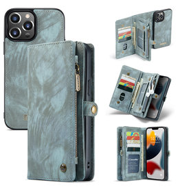 Caseme iPhone 13 Pro Max - Caseme - vintage 2 in 1 portemonnee hoes - Blauw