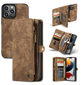 Caseme iPhone 13 Pro Max - Caseme - vintage 2 in 1 portemonnee hoes - Bruin