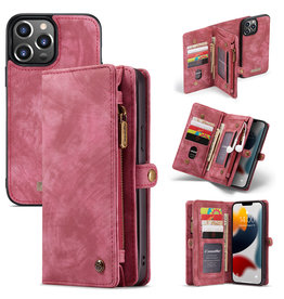 Caseme iPhone 13 Pro Max - Caseme - vintage 2 in 1 portemonnee hoes - Rood