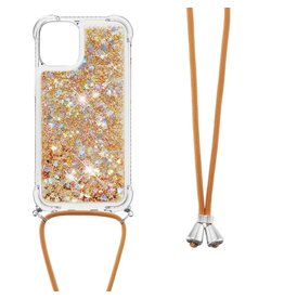 Lunso Lunso - Backcover hoes met koord - iPhone 13 Mini - Glitter Goud