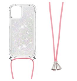 Lunso Lunso - Backcover hoes met koord - iPhone 13 Mini - Glitter Zilver