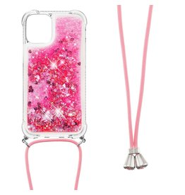 Lunso Lunso - Backcover hoes met koord - iPhone 13 Mini - Glitter Roze