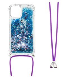 Lunso Lunso - Backcover hoes met koord - iPhone 13 Mini - Glitter Blauw