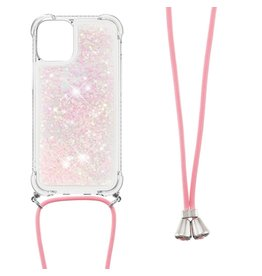 Lunso Lunso - Backcover hoes met koord - iPhone 13 Mini - Glitter Rose Zilver