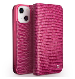 Qialino Qialino - lederen luxe bookcase hoes - iPhone 13 - Croco Roze