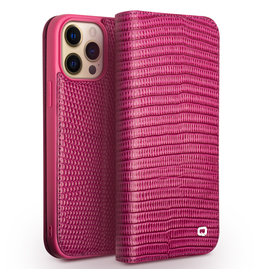 Qialino Qialino - lederen luxe bookcase hoes - iPhone 13 Pro - Croco Roze