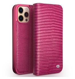Qialino Qialino - lederen luxe bookcase hoes - iPhone 13 Pro Max - Croco Roze