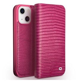 Qialino Qialino - lederen luxe bookcase hoes - iPhone 13 Mini - Croco Roze