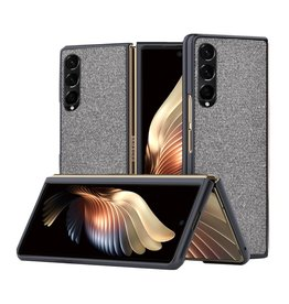 Lunso Lunso - Canvas cover hoes - Samsung Galaxy Z Fold3 - Grijs