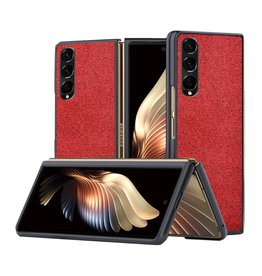 Lunso Lunso - Canvas cover hoes - Samsung Galaxy Z Fold3 - Rood