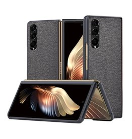 Lunso Lunso - Canvas cover hoes - Samsung Galaxy Z Fold3 - Zwart