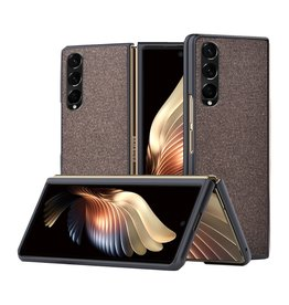 Lunso Lunso - Canvas cover hoes - Samsung Galaxy Z Fold3 - Bruin