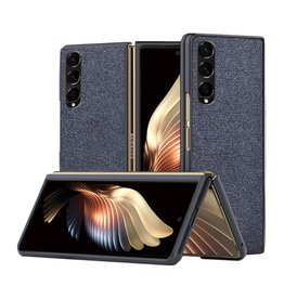Lunso Lunso - Canvas cover hoes - Samsung Galaxy Z Fold3 - Blauw