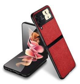 Lunso Lunso - Canvas cover hoes - Samsung Galaxy Z Flip3 - Rood