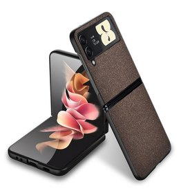Lunso Lunso - Canvas cover hoes - Samsung Galaxy Z Flip3 - Bruin