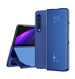 Lunso Lunso - Window view cover hoes - Samsung Galaxy Z Fold3 - Blauw