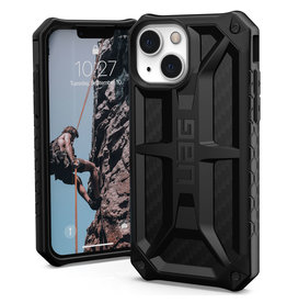 Urban Armor Gear UAG - Monarch backcover hoes - iPhone 13 Mini - Carbon Zwart + Lunso Tempered Glass