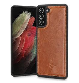 NorthLife NorthLife - Mastreit Lederen backcover hoes - Samsung Galaxy S21 - Cognac