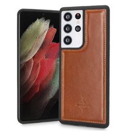 NorthLife NorthLife - Mastreit Lederen backcover hoes - Samsung Galaxy S21 Ultra - Cognac