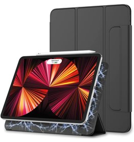 Lunso Magnetische 3-Vouw sleepcover hoes - iPad Pro 12.9 inch (2021) - Zwart