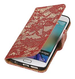 Bookwallet bloemetjes lace rood hoes Samsung Galaxy S6 Edge