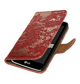 Bookwallet bloemetjes lace rood hoes Samsung Galaxy S7 Edge
