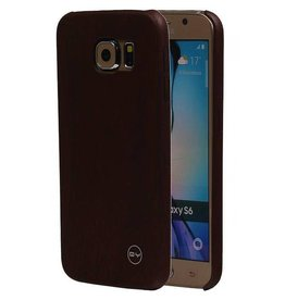 Houtlook hardcase hoes Samsung Galaxy S6 donkerbruin