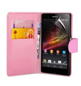Bookwallet hoes Sony Xperia Z1 lichtroze