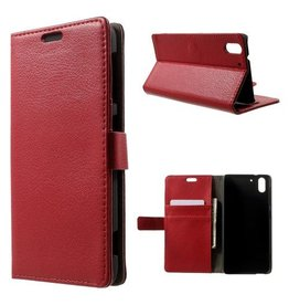 Bookwallet hoes HTC Desire Eye rood