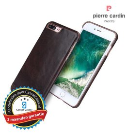 Pierre Cardin Pierre Cardin echt lederen hardcase hoes iPhone 7 Plus / 8 Plus - Coffee