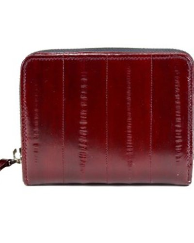 b84854cfe88c Wallet medium in coral red made from exclusive eelskin - JUNGMI