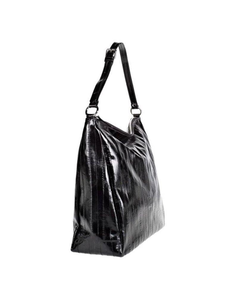 Cleopatra handbag black silver zipper