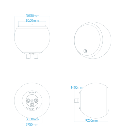 Gallo Acoustics Gallo Acoustics Micro SE - Satalliet Speaker - Grijs ( per stuk )