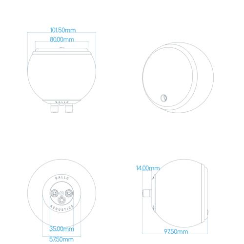 Gallo Acoustics Gallo Acoustics Micro SE - Satalliet Speaker - Goud ( per stuk )