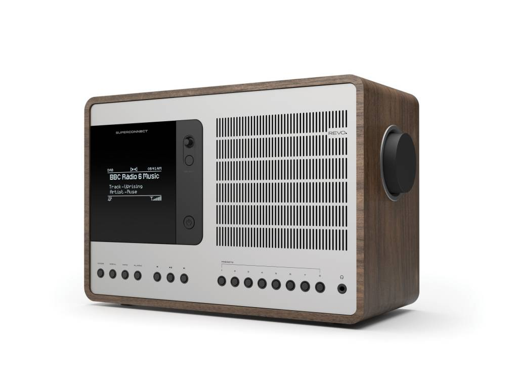 Revo SuperConnect - DAB+ - internet radio en Spotify - Walnoot/Zilver