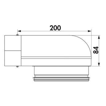 Dampkapbuis bocht 90° Compair Steel flow