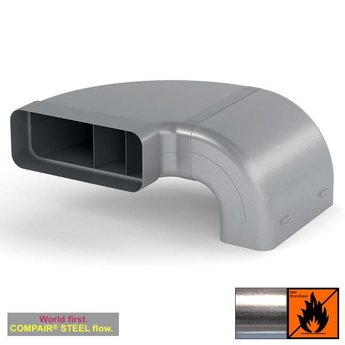Afvoer afzuigkap plaatsbesparende bochtenset  Compair Steel