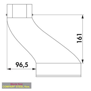 Afzuigkap afvoer verloopstuk Compair Steel flow