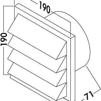 Gevelrooster dampkap Ø 125mm Luchtafvoer Licht grijs