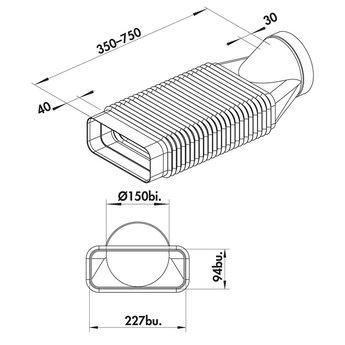 Flexibele buisbocht van vlak naar rond Ø 150mm tot 180° | 222x89mm