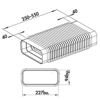 Flexibele buisbocht vlak Ø 150mm tot 180° | 222x89mm