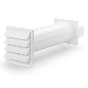 Compair Flow Muurdoorvoer dampkap Ø 125mm Vlakke buis Wit met terugslagklep