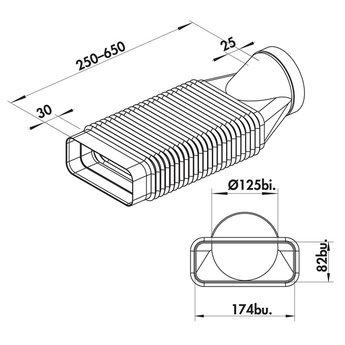 Naber Flexibele bocht Ø125mm van platte naar ronde afvoer afzuigkap, wit