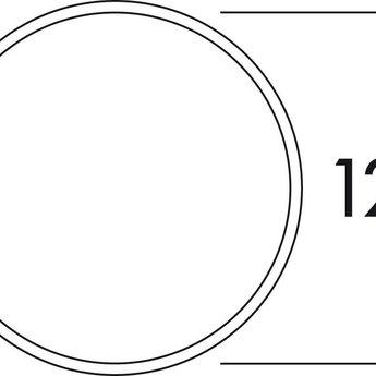 Muurdoorvoer dampkap 125mm, wit/Roestvrij staal