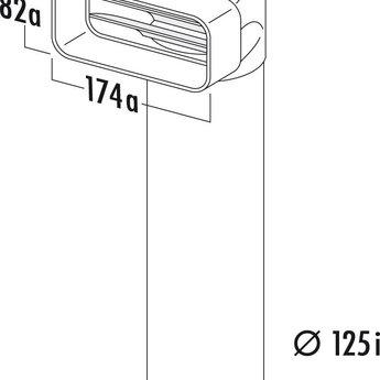 Naber Omkeerstuk 90° Hoog rendement Ø125mm met ronde buis