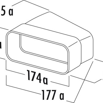 Naber Hoog rendement bocht Ø125mm horizontaal 15° Compair Flow