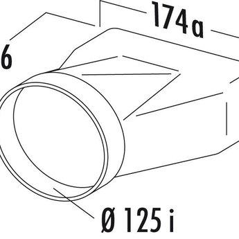 Verloopstuk afzuigkap Ø125mm rond naar platte buis